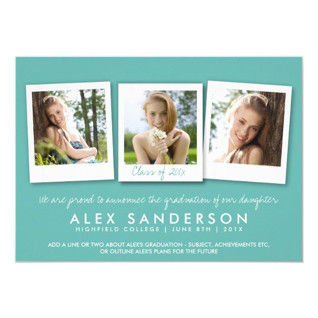 Elegant Teal Graduation Announcement Photo Card