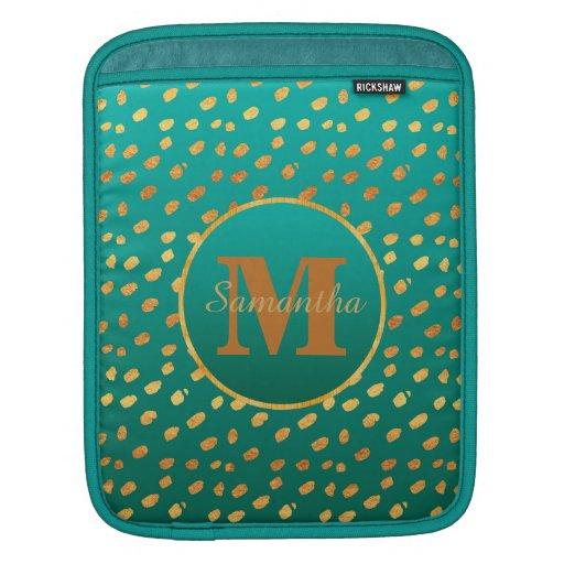 Elegant Teal Green and Gold Confetti Monogram iPad Sleeve