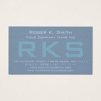 Elegant Teal Green Textured Monogram Class Business Card
