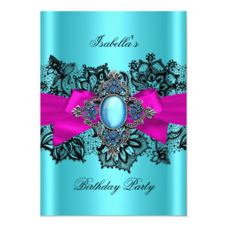Elegant Teal Hot Pink Lace Blue Birthday Party Card