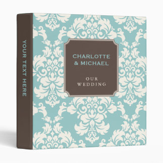 Elegant Teal & Ivory Damask Personalized Binder