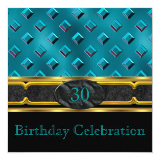 Elegant Teal Leather Metal Gold Birthday Party Card