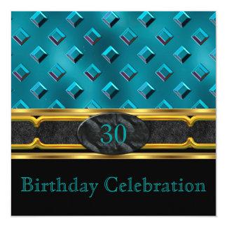 Elegant Teal Leather Metal Gold Birthday Party Invitation