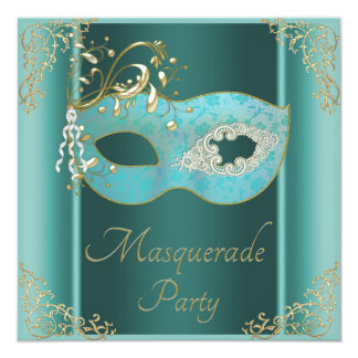 Elegant Teal Mask Masquerade Party Card