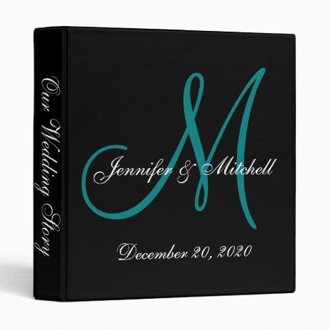 Elegant Teal Monogram Wedding Binder