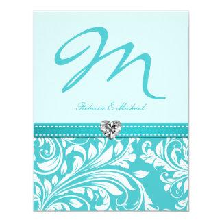 Elegant Teal Monogram Wedding Invites with Diamond