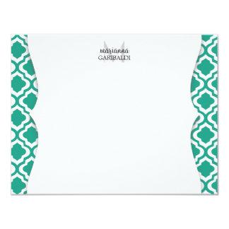 Elegant Teal Moroccan Quatrefoil Personalized 4.25x5.5 Paper Invitation Card