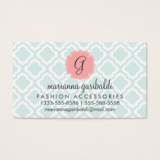Elegant Teal Moroccan Quatrefoil Personalized Business Card