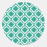 Elegant Teal Moroccan Trellis Quatrefoil Clover Round Stickers