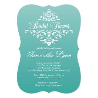 Elegant Teal Ombre wBridal Shower Invitation