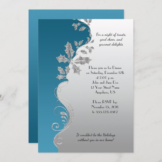 Elegant Teal Ornate Silver Holly Christmas Party Invitation