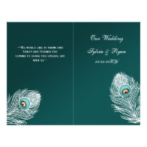 Elegant teal peacock folded Wedding program