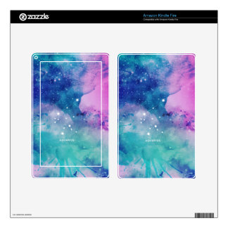 Elegant Teal Pink Blue Nebula Aquarius Decal For Kindle Fire