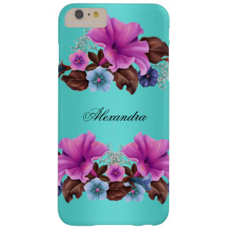 Elegant Teal Pink Petunias Flowers Barely There iPhone 6 Plus Case