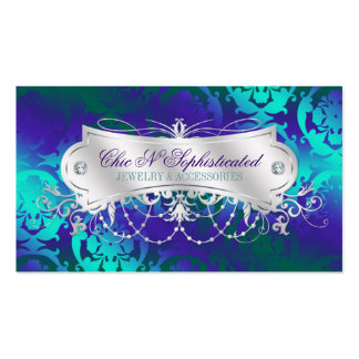 Elegant Teal Purple Damask Swirl Double-Sided Standard Business Cards (Pack Of 100)
