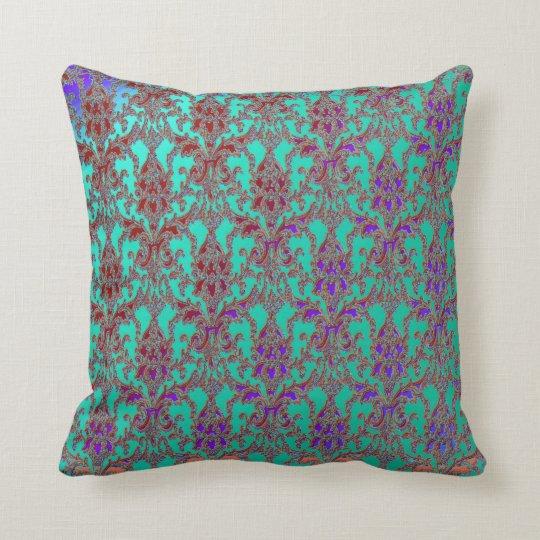 Elegant Teal Purple Red Damask American MoJo Pillo Throw Pillow