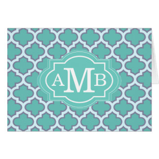 Elegant Teal Quatrefoil Pattern Custom Monogram Card
