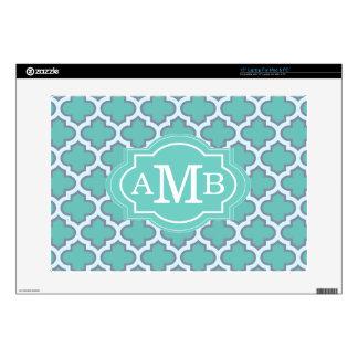 "Elegant Teal Quatrefoil Pattern Custom Monogram Decal For 15"" Laptop"