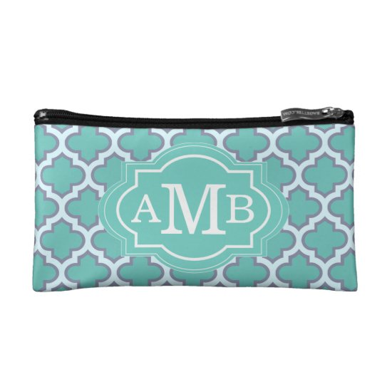 Elegant Teal Quatrefoil Pattern Custom Monogram Makeup Bag