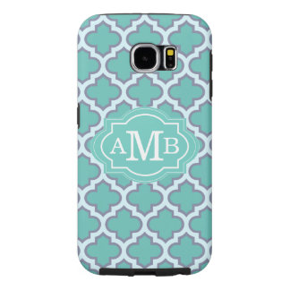 Elegant Teal Quatrefoil Pattern Custom Monogram Samsung Galaxy S6 Case