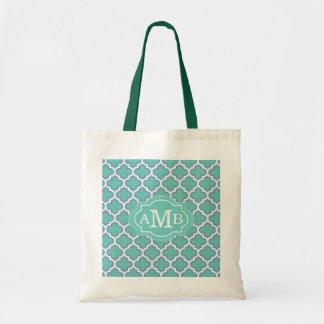 Elegant Teal Quatrefoil Pattern Custom Monogram Tote Bag