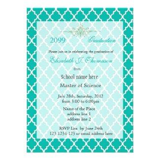 Elegant teal quatrefoil pattern graduation invites