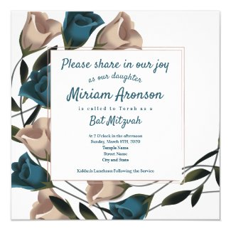 Elegant Teal Roses Bat Mitzvah Invitation