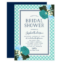Elegant Teal Roses Floral Bridal Shower Invitation