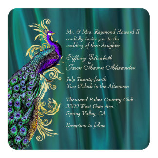 Elegant Teal Satin and Peacock Wedding Invitation