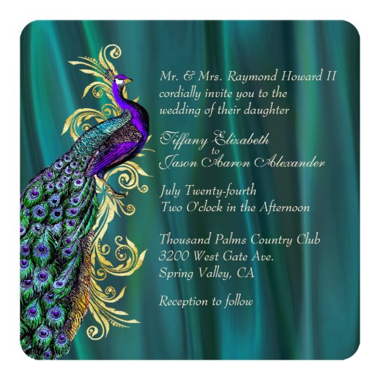 Elegant teal satin and peacock wedding invitation zazzlecom for Lavender avenue wedding invitations