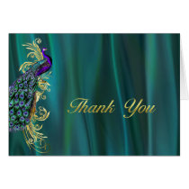 Elegant Teal Satin and Peacock Wedding Thank You Card