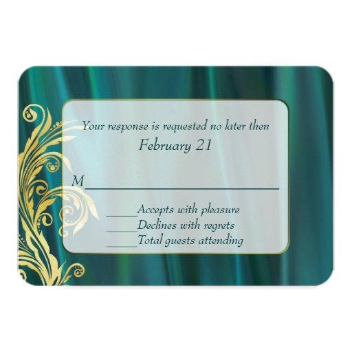 Elegant Teal Satin Wedding Response Card Invite