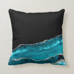 Elegant Teal & Silver Agate Throw Pillow