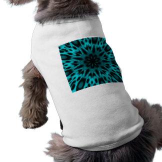 Elegant Teal Spotted Leopard Kaleidoscope Doggie T Shirt