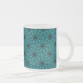 Elegant Teal Spotted Leopard Kaleidoscope Frosted Glass Coffee Mug