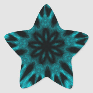 Elegant Teal Spotted Leopard Kaleidoscope Star Sticker