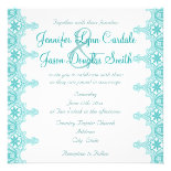 Elegant Teal Turquoise Lace Wedding Invitations