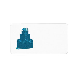 Elegant Teal Wedding Cake Custom Address Label