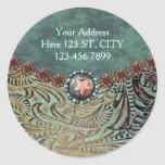 elegant teal western country tooled leather classic round sticker