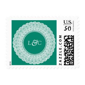 Elegant teal & white custom postage stamp