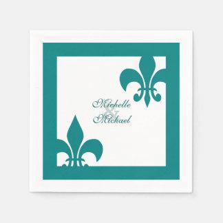Elegant Teal White Fleur de Lis Wedding Paper Napkin