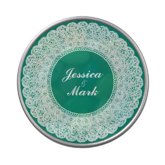 Elegant teal & white lace candy/mint tin candy tins