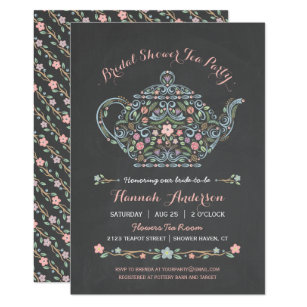 Unique tea party invitations announcements zazzle elegant teapot bridal shower chalkboard invitation filmwisefo Gallery
