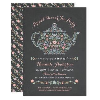 Elegant Teapot Bridal Shower Chalkboard Invitation