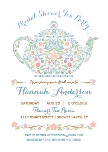 Teapot bridal shower invitations zazzle elegant teapot bridal shower invitation filmwisefo