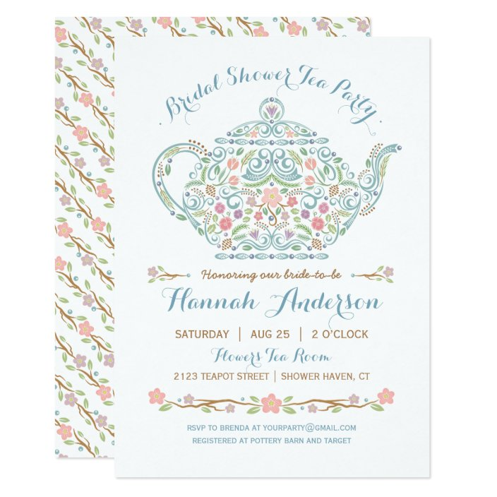 Elegant Teapot Bridal Shower Invitation