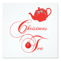 Elegant Teapot Christmas Tea Party Invitation