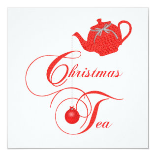 Elegant Teapot Christmas Tea Party Invitation at Zazzle