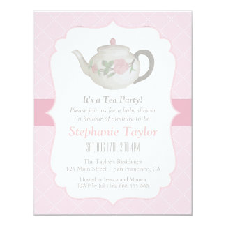 Elegant Teapot Tea Party Baby Shower Invitations