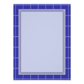 Elegant Template with Border BLUE Poster